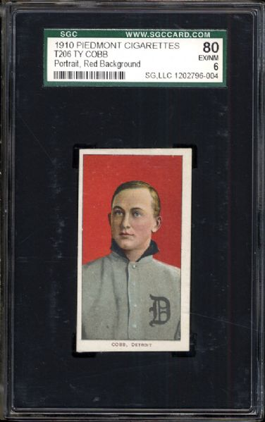 1910 T206 Ty Cobb Red Portrait SGC 80 EX/NM 6