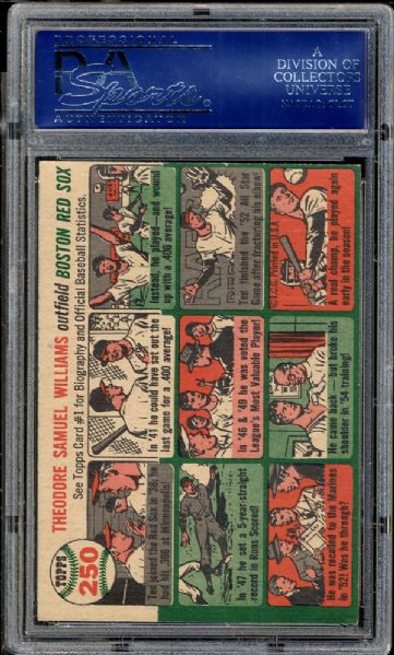 1954 Topps #250 Ted Williams PSA 6 EX/MT