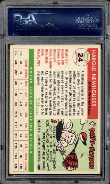 1955 Topps #24 Hal Newhouser PSA 8 NM/MT