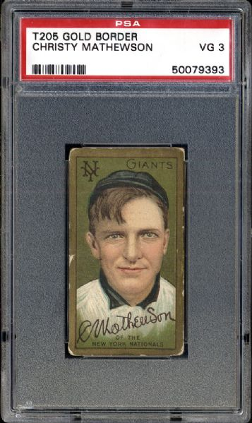 1911 T205 Gold Border Christy Mathewson PSA 3 VG