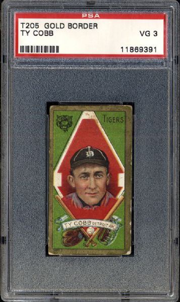 1911 T205 Gold Border Ty Cobb PSA 3 VG