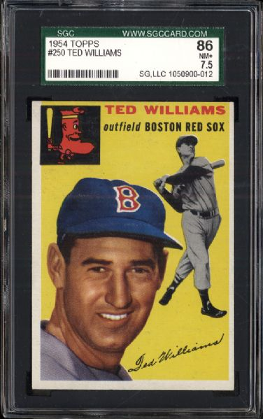 1954 Topps #250 Ted Williams SGC 86 NM+ 7.5