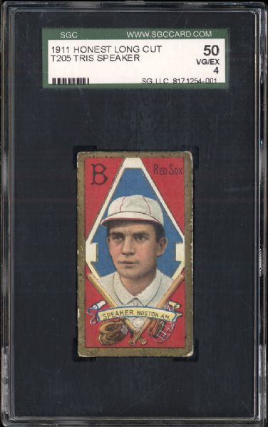 1911 T205 Honest Long Cut Tris Speaker SGC 50 VG/EX 4