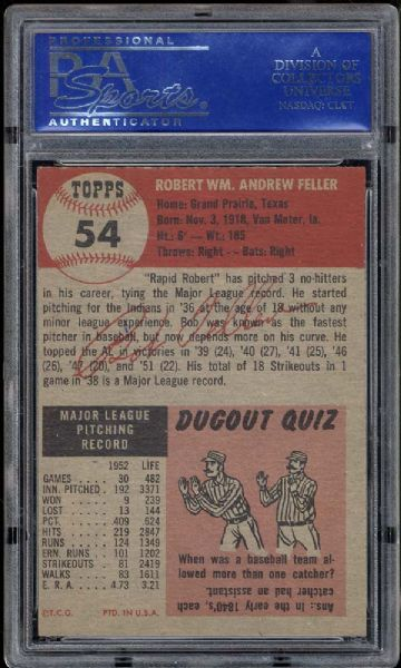 1953 Topps #54 Bob Feller PSA 8(OC) NM/MT