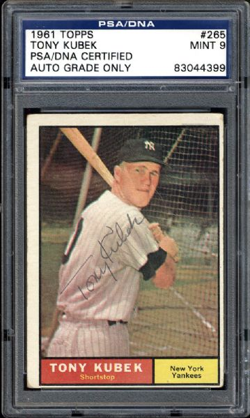1961 Topps #265 Tony Kubek Autographed Card PSA/DNA 9 MINT
