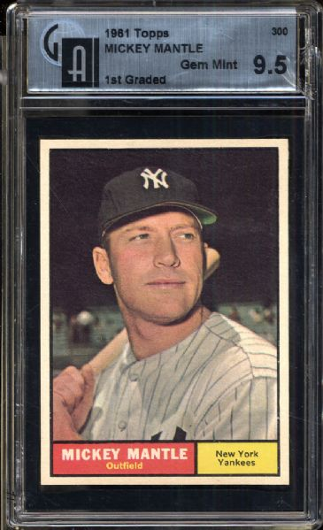 1961 Topps #300 Mickey Mantle GAI 9.5 GEM MINT
