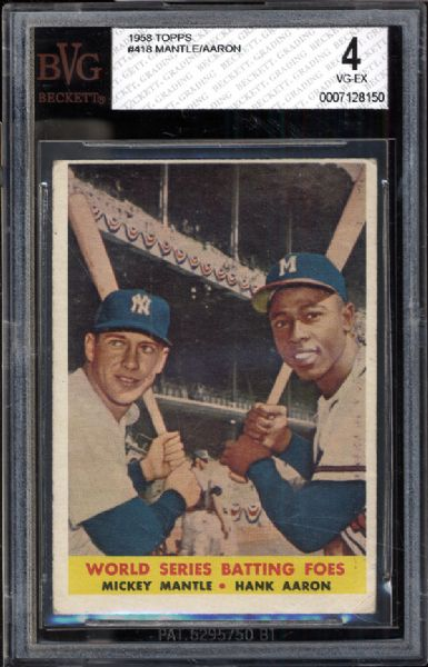 1958 Topps #418 Mantle/Aaron BVG 4 VG/EX
