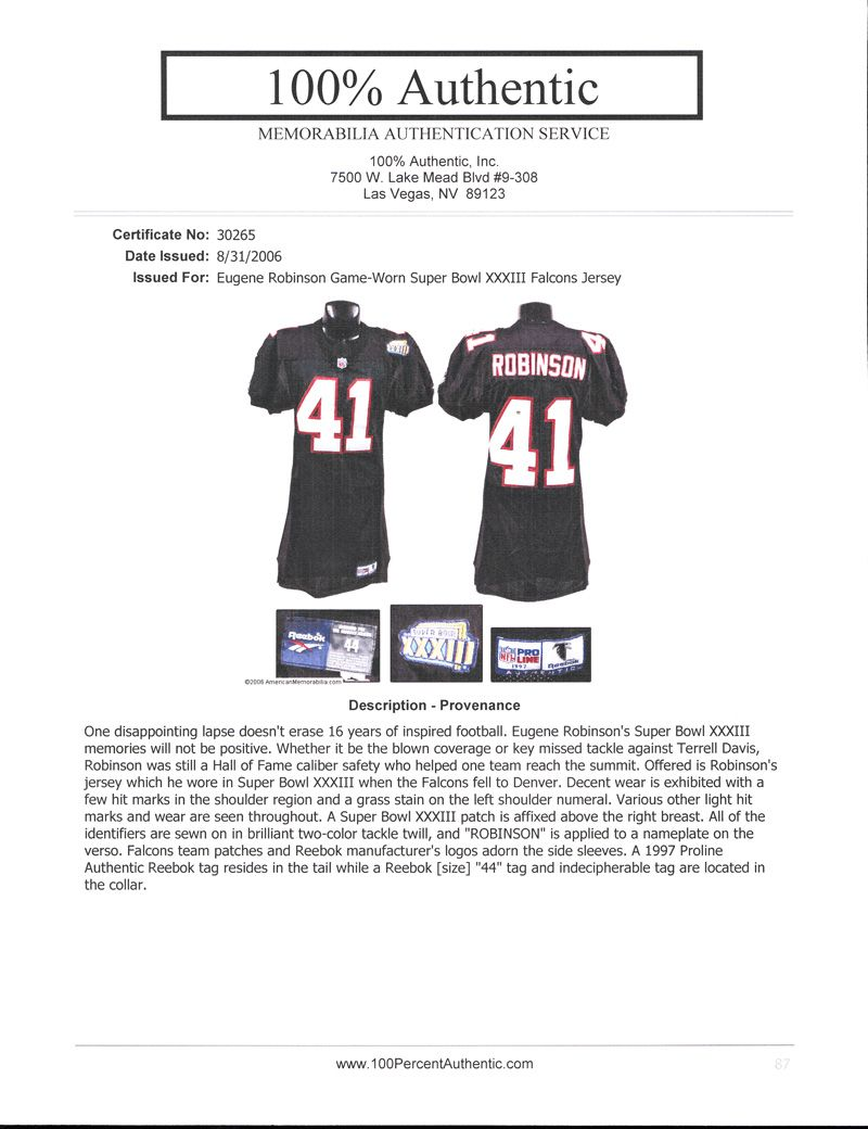 ce06188d3 ... 1998 Eugene Robinson Atlanta Falcons Super Bowl XXXIII Game-Worn Jersey  Photomatched