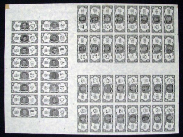 1962 Topps Football Bucks Complete Set on Uncut Sheet