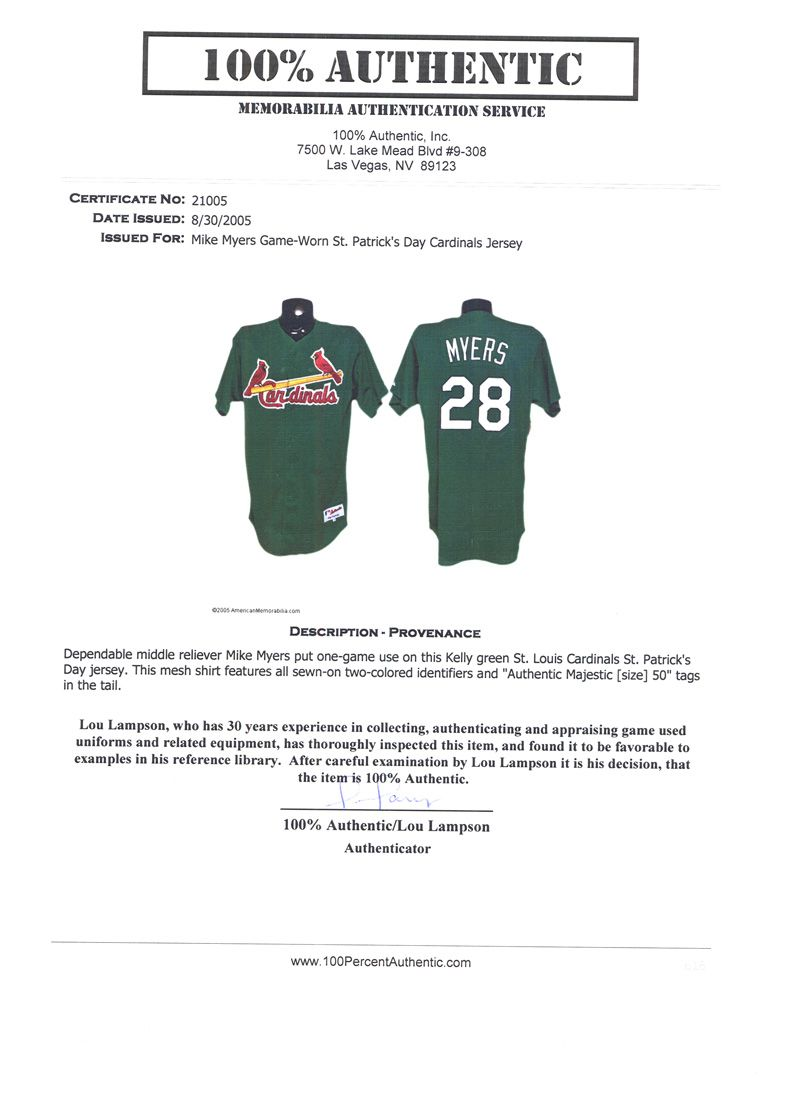 f4f8dee555b ... 2005 Mike Myers St. Louis Cardinals St. Patrick s Day Game-Used Spring  Training