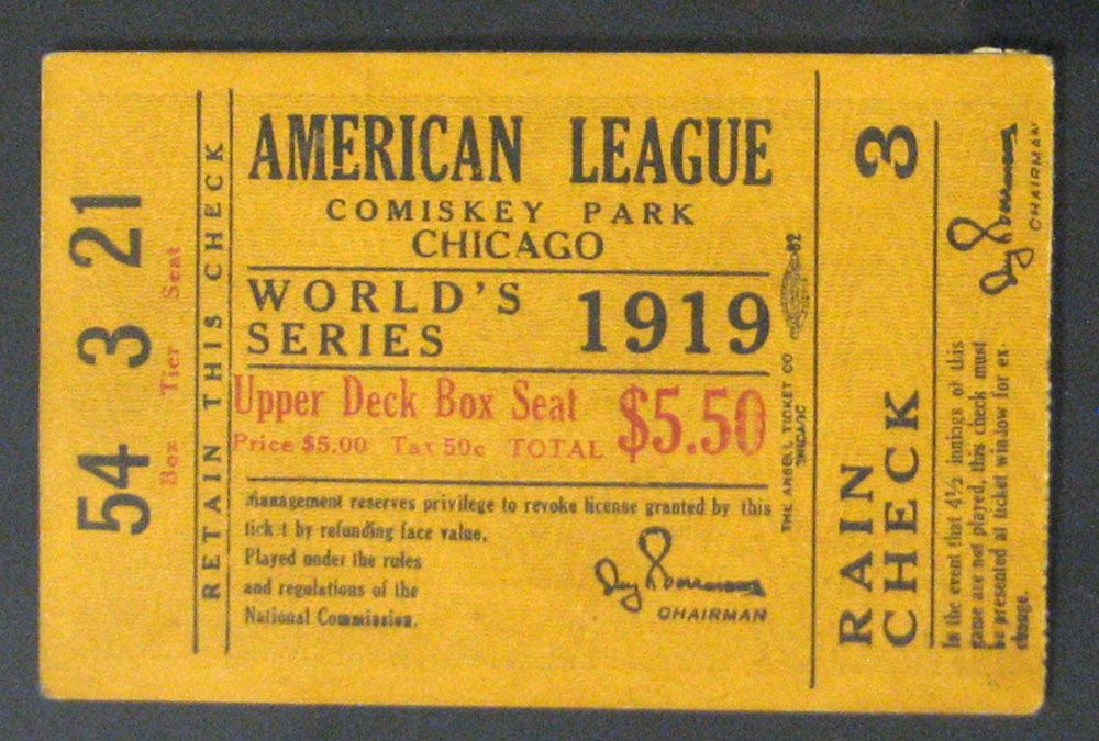 lot detail chicago white sox world series ticket stub from  1919 chicago white sox world series ticket stub from black sox season
