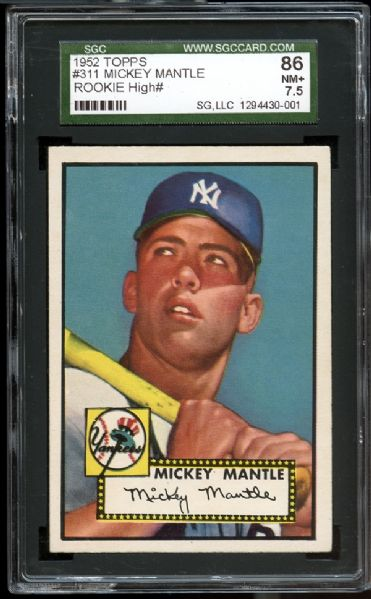 1952 Topps #311 Mickey Mantle SGC 86 NM 7.5+