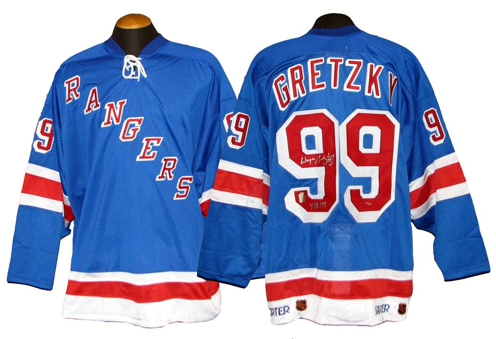 850cf50aa Wayne Gretzky New York Rangers Autographed Game-Issued Jersey Inscribed 4 18  99 ...
