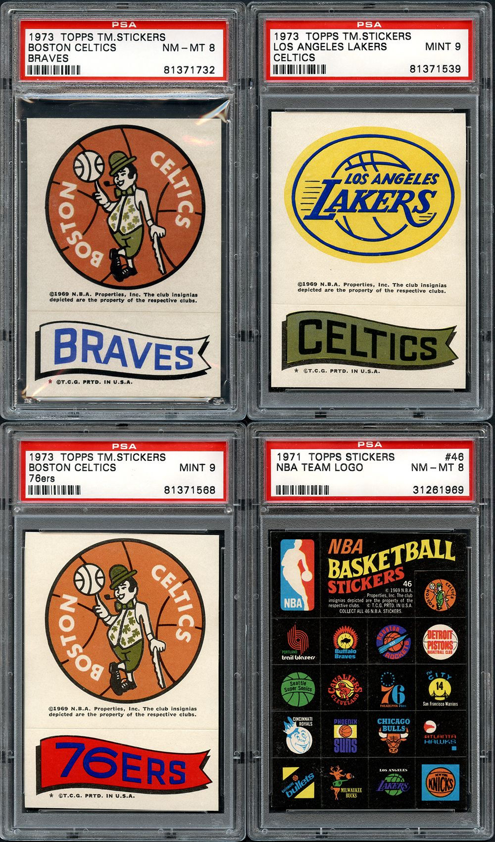 Lot Detail - 1971-73 Topps NBA Sticker Group of (4) All ...