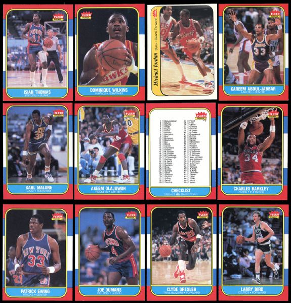 1986 Fleer Basketball Near Complete Set and Near Complete Sticker Set