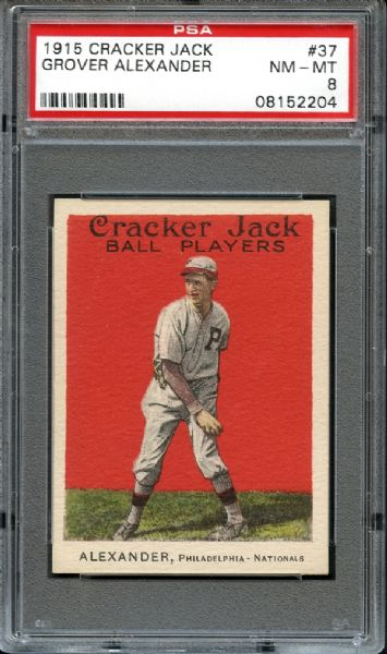 1915 Cracker Jack #37 Grover Alexander PSA 8 NM/MT