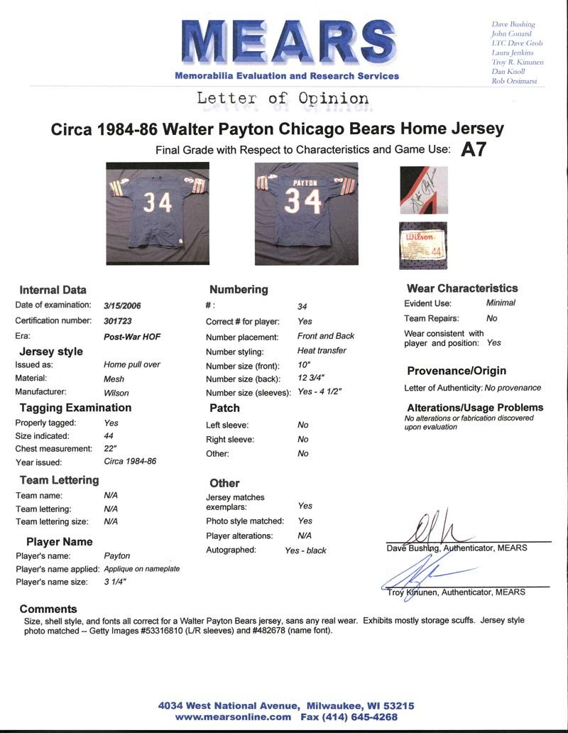 cbdab89e4ae Circa 1985 Walter Payton Chicago Bears Game-Used and Signed Jersey- (1984-  ...