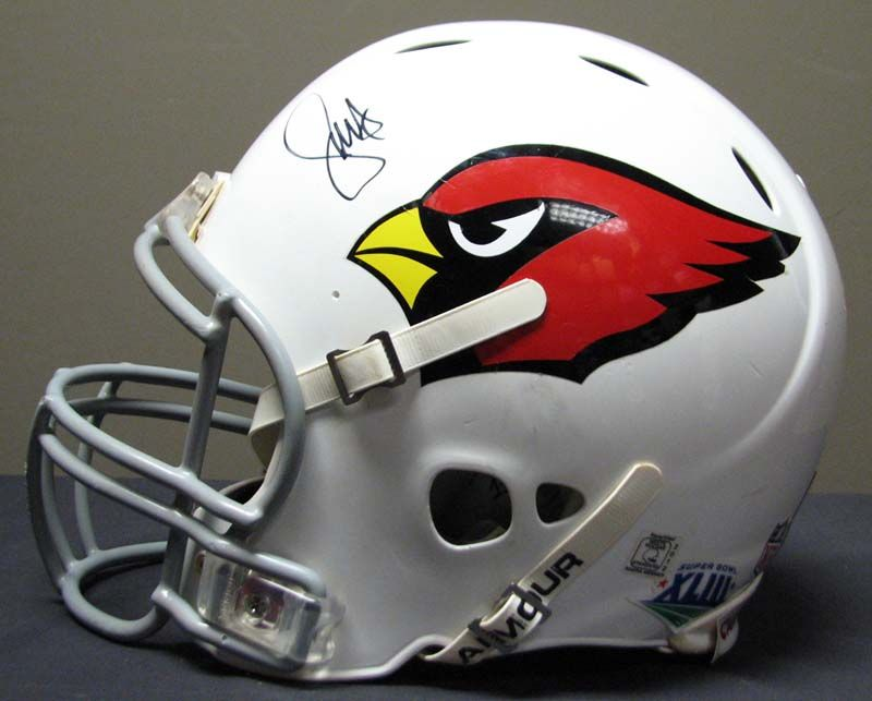 03faa5d7033 2010 Larry Fitzgerald St. Louis Cardinals Game-Used Super Bowl XLIII Helmet  ...