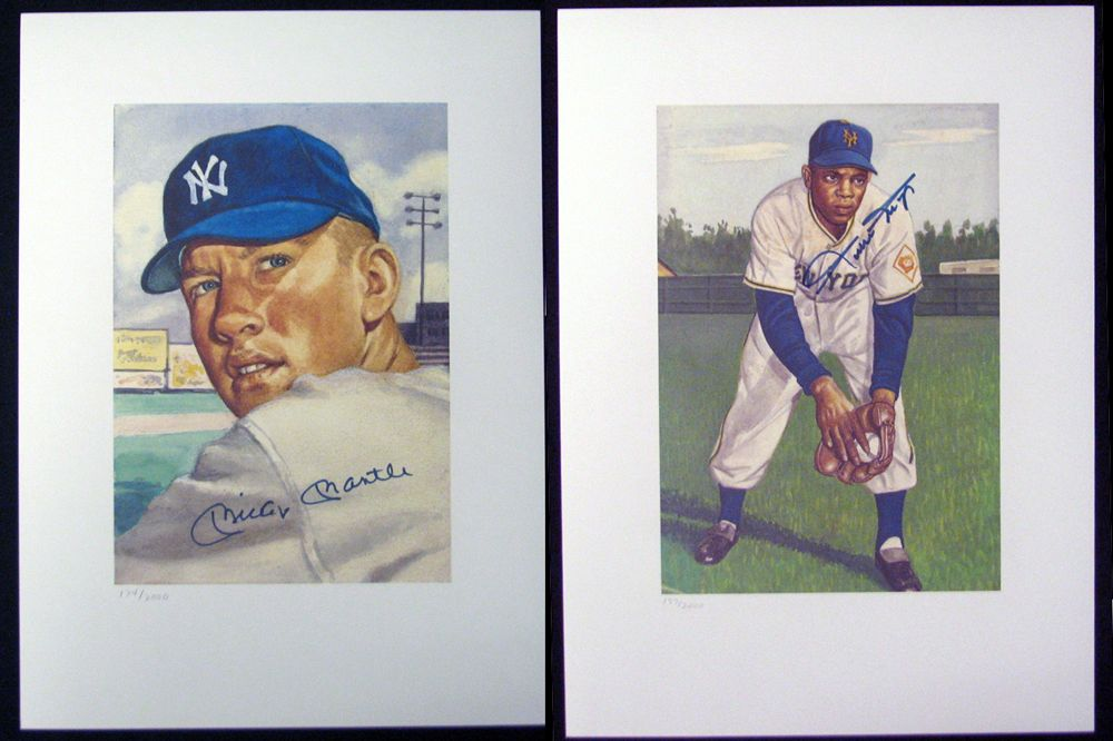 Lot Detail Mickey Mantle And Wille Mays Signed Lithograph Group Of
