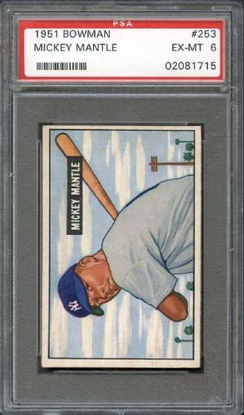 1951 Bowman #253 Mickey Mantle PSA 6 EX/MT