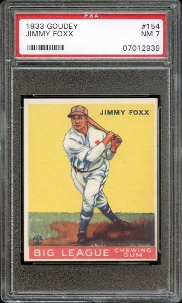 1933 Goudey #154 Jimmy Foxx PSA 7 NM
