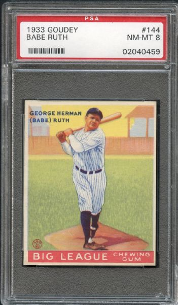 1933 Goudey #144 Babe Ruth PSA 8 NM/MT