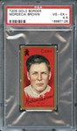 1911 T205 Gold Border Mordecai Brown With Drum Advertisement  PSA 4.5 VG/EX+