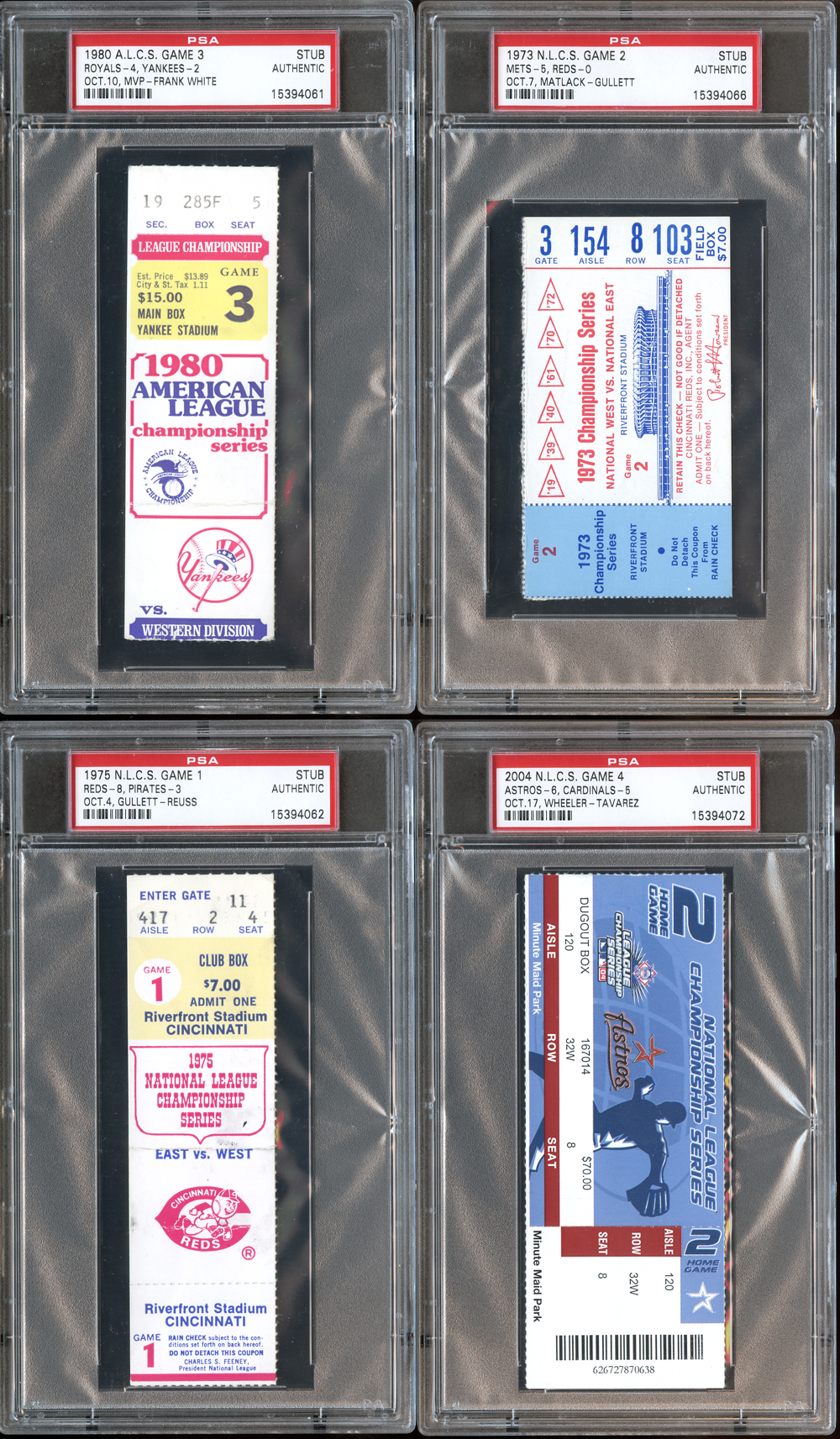lot detail 1973 2004 mlb playoff ticket stub group of 4 plus nolan ryan 6th no hitter full. Black Bedroom Furniture Sets. Home Design Ideas
