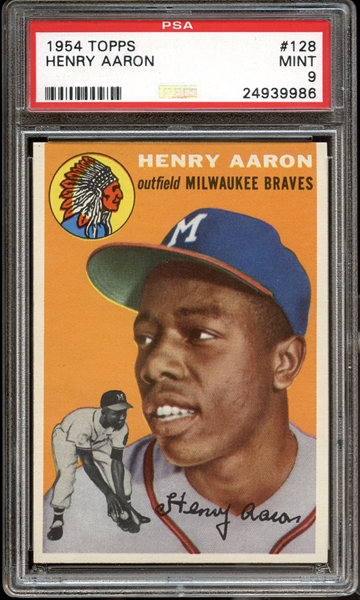 Astounding 1954 Topps #128 Henry Aaron PSA 9 MINT- Recently Graded