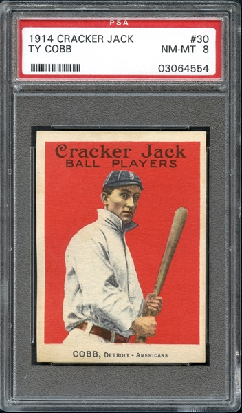 1914 Cracker Jack #30 Ty Cobb PSA 8 NM/MT
