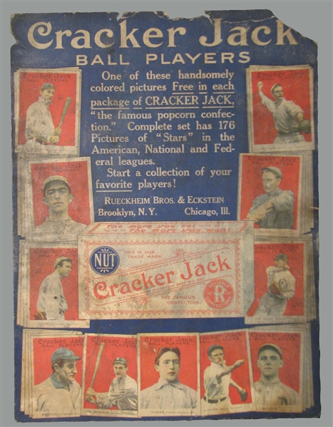 Spectacular Newly Discovered 1915 E145 Cracker Jack Advertising Display Poster