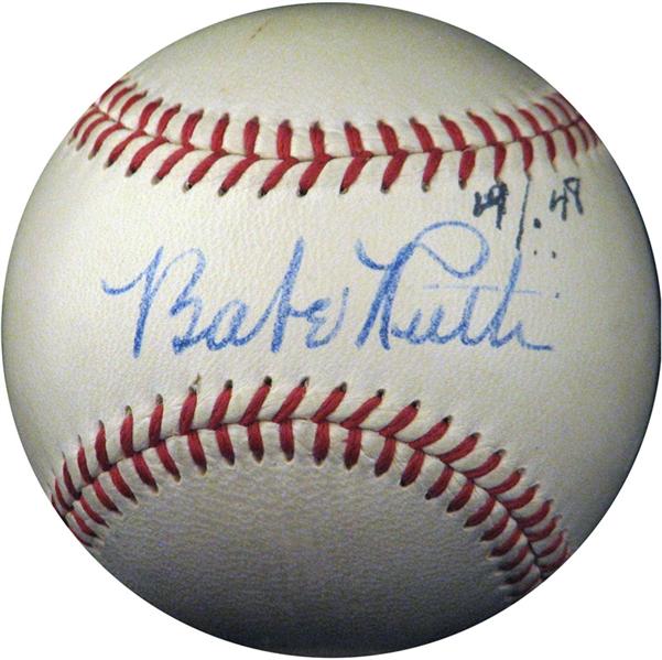 vintage sports memorabilia, autographed baseball, Babe Ruth