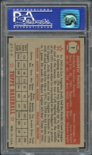 1952 Topps #1 Andy Pafko PSA 7 NM