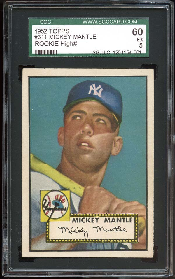 mickey mantle, baseball card, 1952 topps