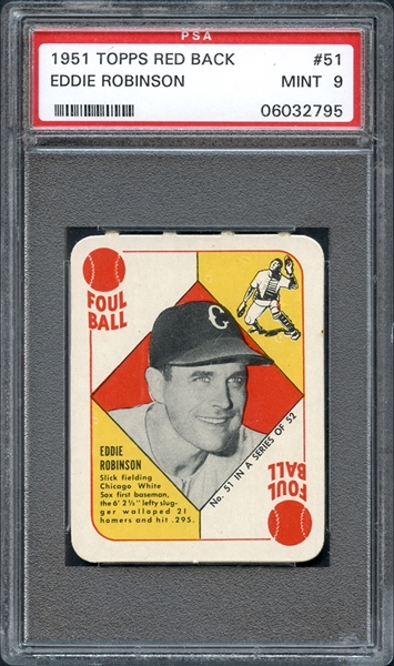 1951 Topps Red Back #51 Eddie Robinson PSA 9 MINT