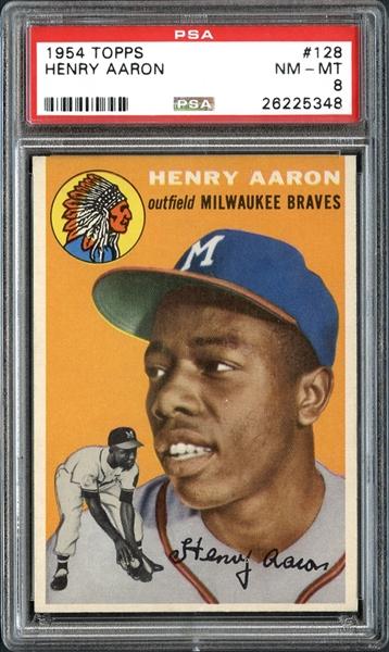 vintage baseball cards, 1954 Hank Aaron