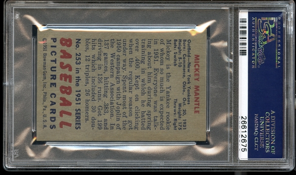 Exceptional 1951 Bowman #253 Mickey Mantle PSA 8 NM/MT Appears As A MINT Example, The Finest NM/MT 8 In The Hobby