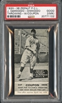 1935 Zeenut Joe DiMaggio Throwing with Coupon PSA 2 MK