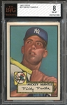 1952 Topps #311 Mickey Mantle BVG 8 NM/MT