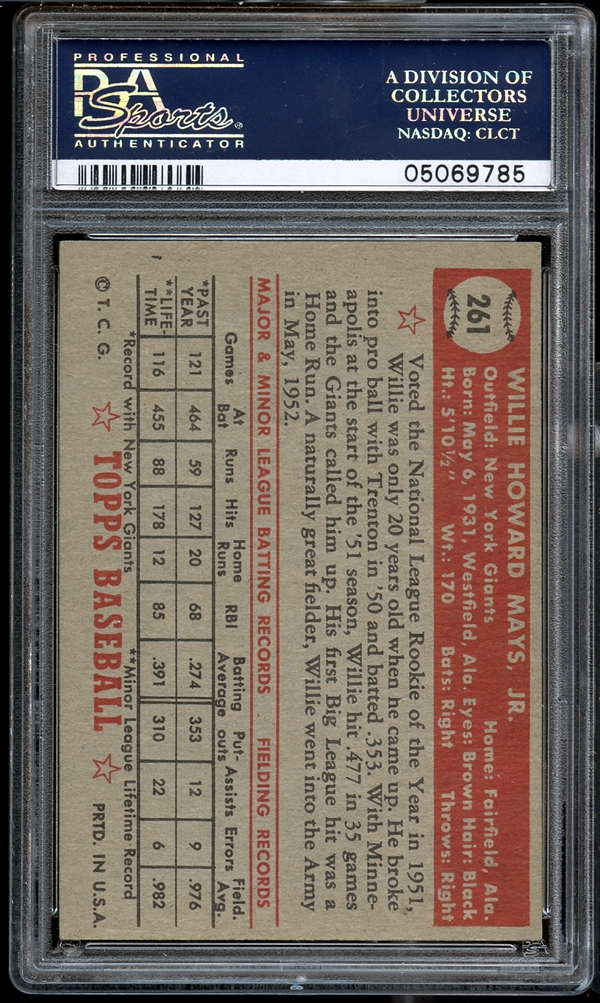 Lot Detail 1952 Topps 261 Willie Mays Psa 7 Nm