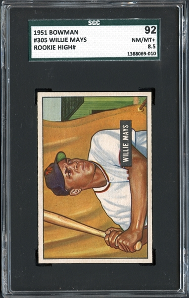 1951 Bowman #305 Willie Mays SGC 92 NM/MT+ 8.5