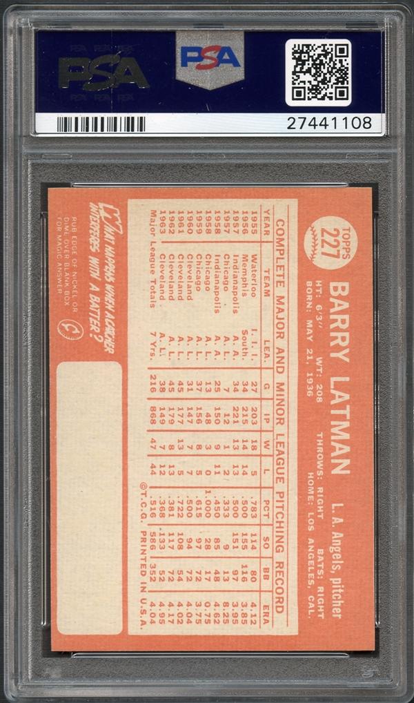 Lot Detail - 1964 Topps #227 Barry Latman PSA 10 GEM MINT
