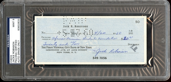 Jackie Robinson Signed Check