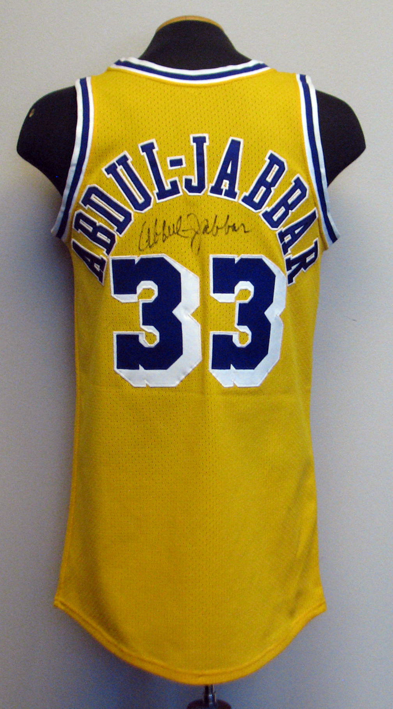 e0775ea2d ... 1980s Kareem Abdul-Jabbar Los Angeles Lakers Game-Used and Twice-Signed  Jersey ...
