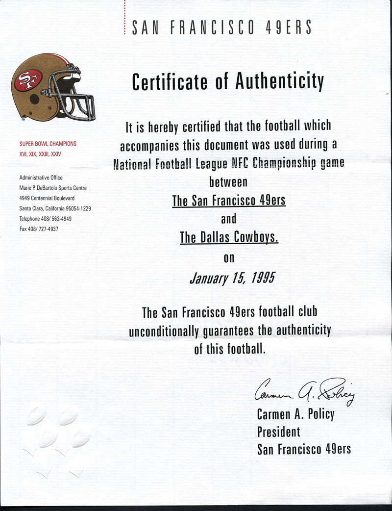 11895a6b2 ... Jerry Rice and Steve Young Signed NFL Football Used in NFC Championship  Game on January 15