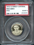 1910-12 Sweet Caporal Pin Red Ames PSA 6 EX/MT