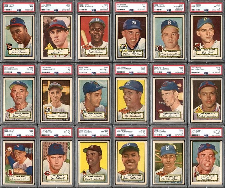 1952 Topps Near Complete Set (405/407) With PSA Graded