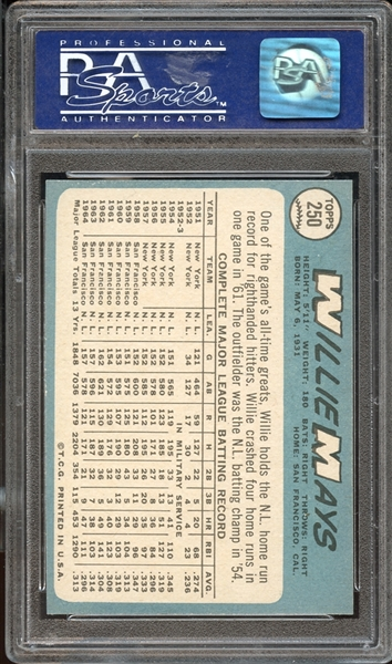 1965 Topps # 250 WILLIE MAYS PSA 9 MINT