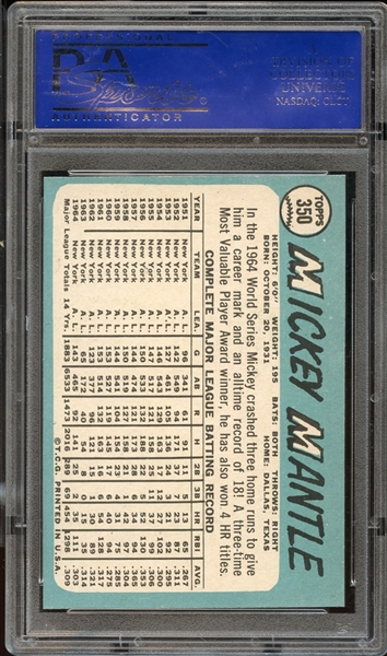 1965 Topps # 350 MICKEY MANTLE PSA 9 MINT
