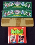 1987-1990 Topps and Upper Deck Baseball and Football Sets and Wax Box